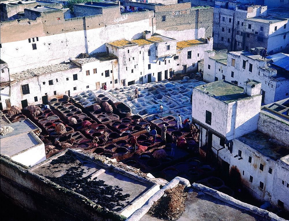 Morocco, Fes, Medina (Old City), The Tanneries Quarter, Overview