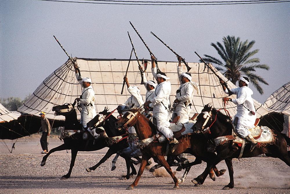 Morocco, Marrakech, Festival Fantasia (Men Riding Horses Galloping And Firing Antique Guns) - 700-6841