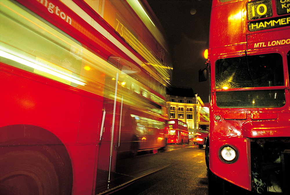 UK, London, Red Buses At Night - 700-7202