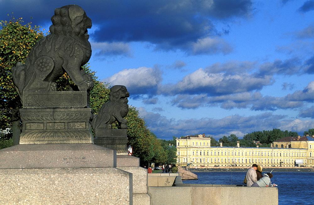 Russia, Saint Petersburg, River Neva Bank