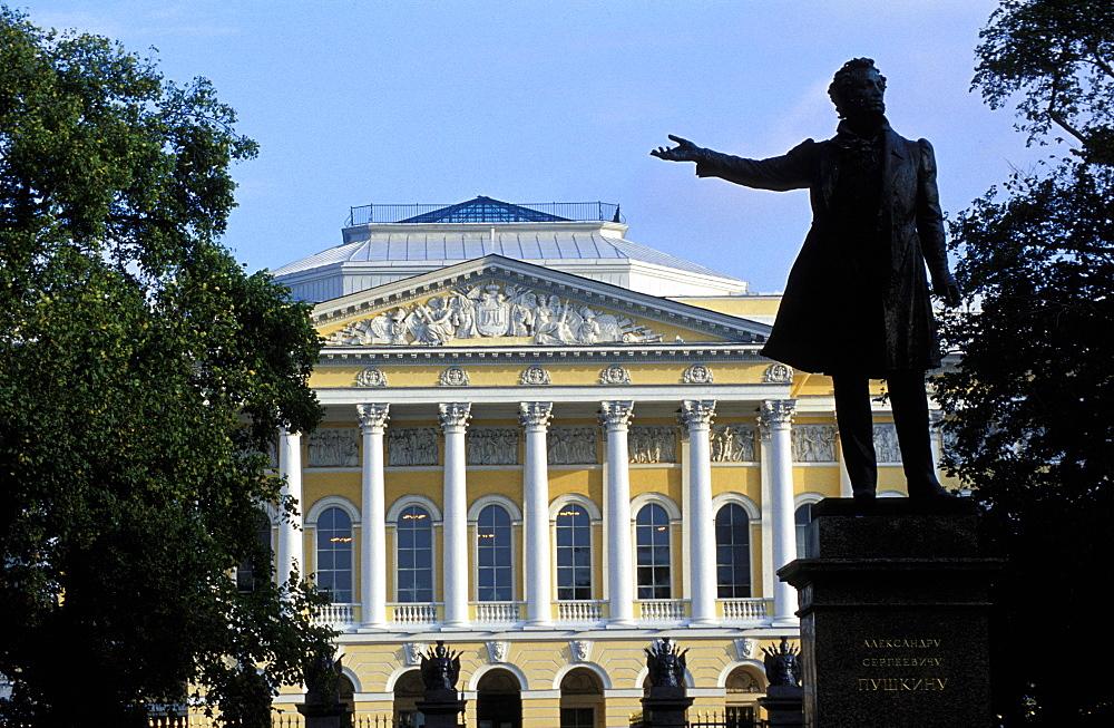 Russia, Saint Petersburg, Mikhaelovsky Palace (Russian Museum) And Pushkin Statue At Fore