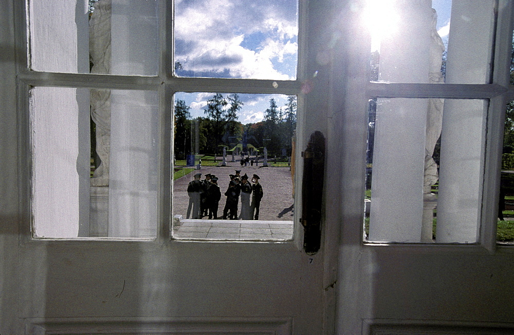Russia, Saint Petersburg, Tsarskoie Selo (Pushkin) Catherine Ii Castle, View On The Park Through A Castle Window