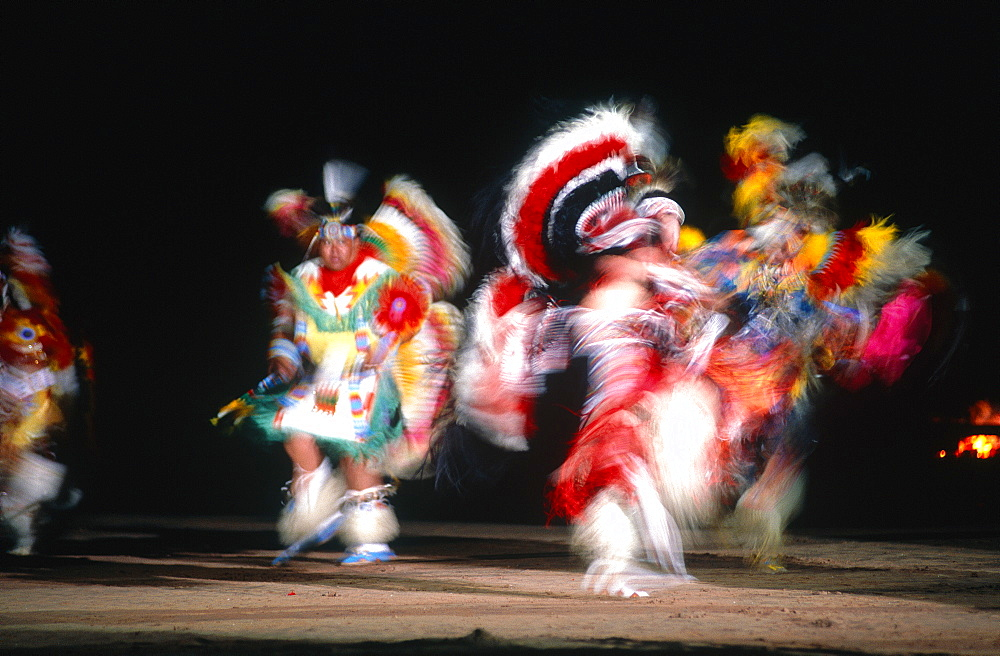 Usa, New Mexico, Gallup, Navajo Reservation, Monument Valley, Blurred War Kkowa Dance At Night