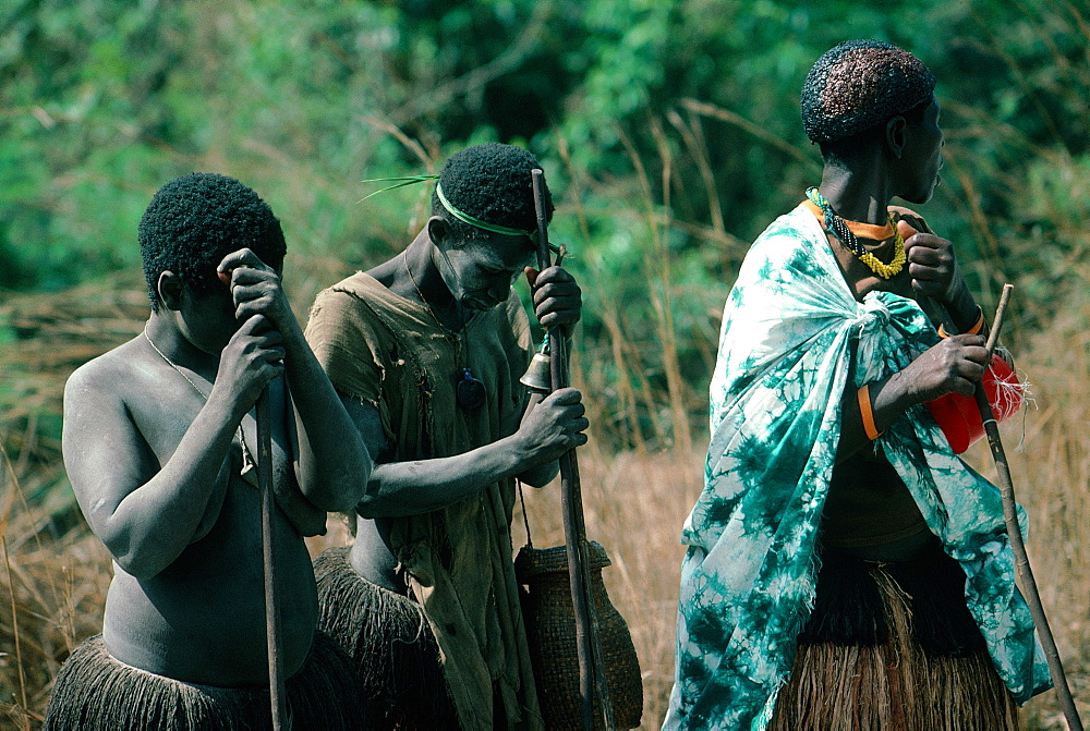 Africa, Guinea Bissau, Bijagos Islands, Bijago Women Mourning After A Burial Ceremony