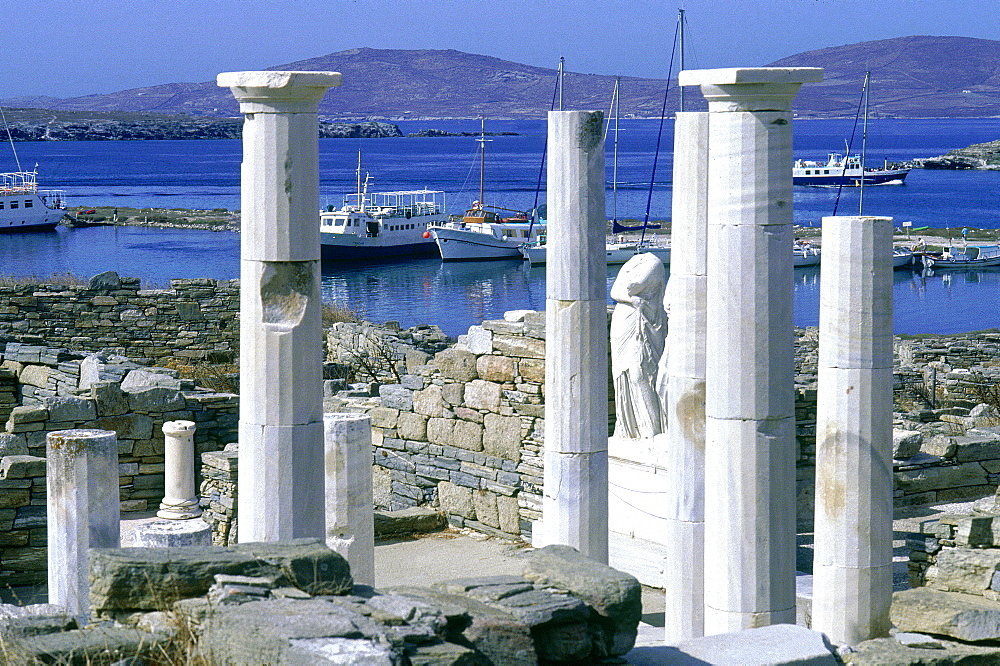 Greece, Cyclades, Delos Island, Jupiter Temple, Overview, The Harbour At Rear