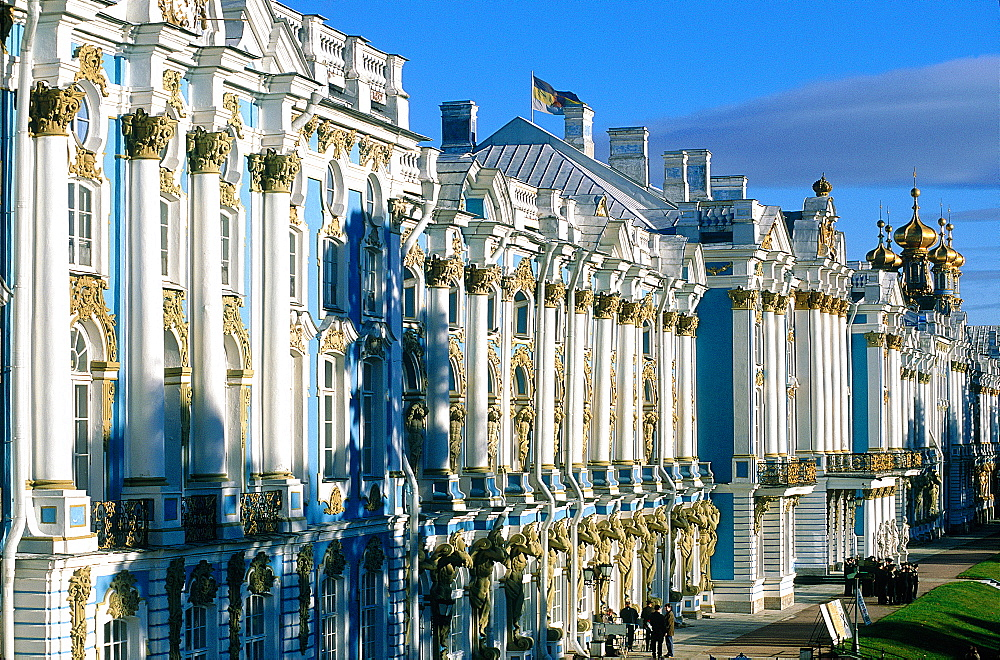 Russia, St-Petersburg, Tsarskoie Selo (Pushkin), Catherine Palace, Elevated View Of The Park Facade