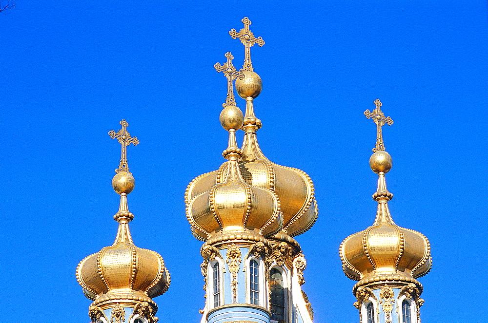 Russia, St-Petersburg, Tsarskoie Selo (Pushkin), Catherine Ii Palace, The Belfries Bulbs Of The Chapel