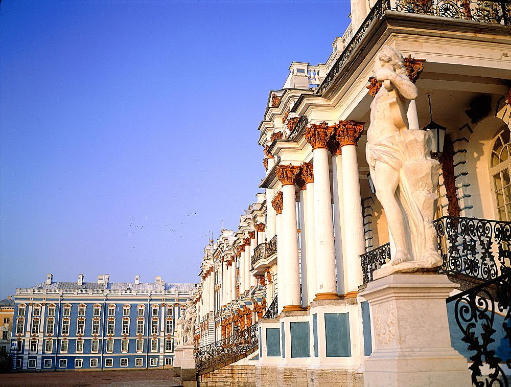 Russia, St-Petersburg, Tsarskoie Selo (Pushkin), Catherine Ii Palace, The Facade On The Back Yard