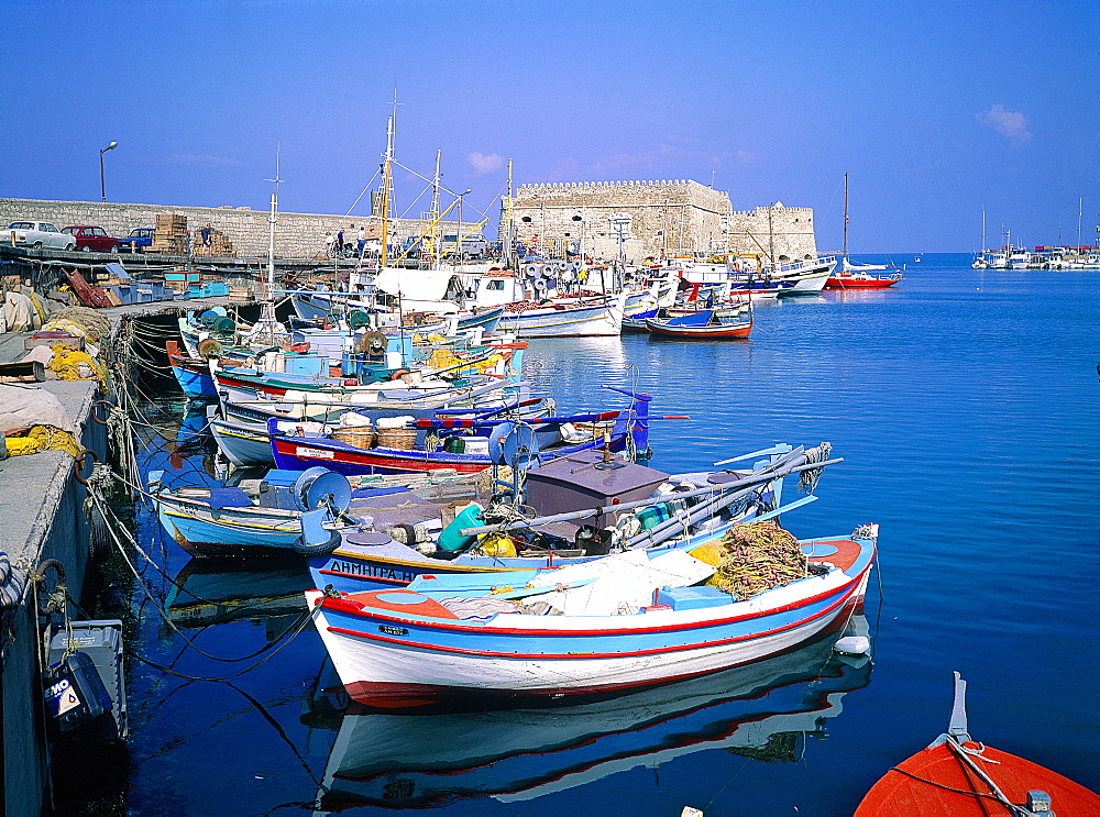 Greece, Crete, Heraklion, The Habour, Colored Fishing Boats