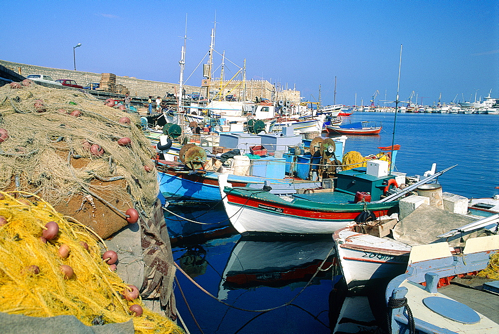 Greece, Crete, Heraklion, The Harbour, Colored Fishing Boats