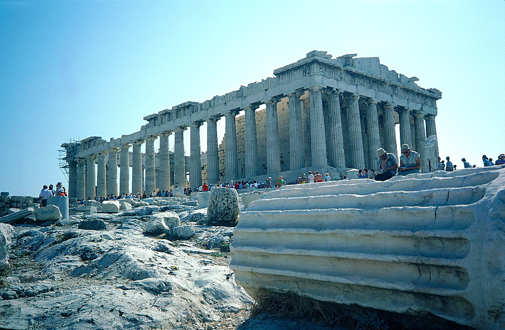 Greece, At Hens, Acropolis Hill, The Parthenon Temple Built By Phidias, Fallen Column At Fore
