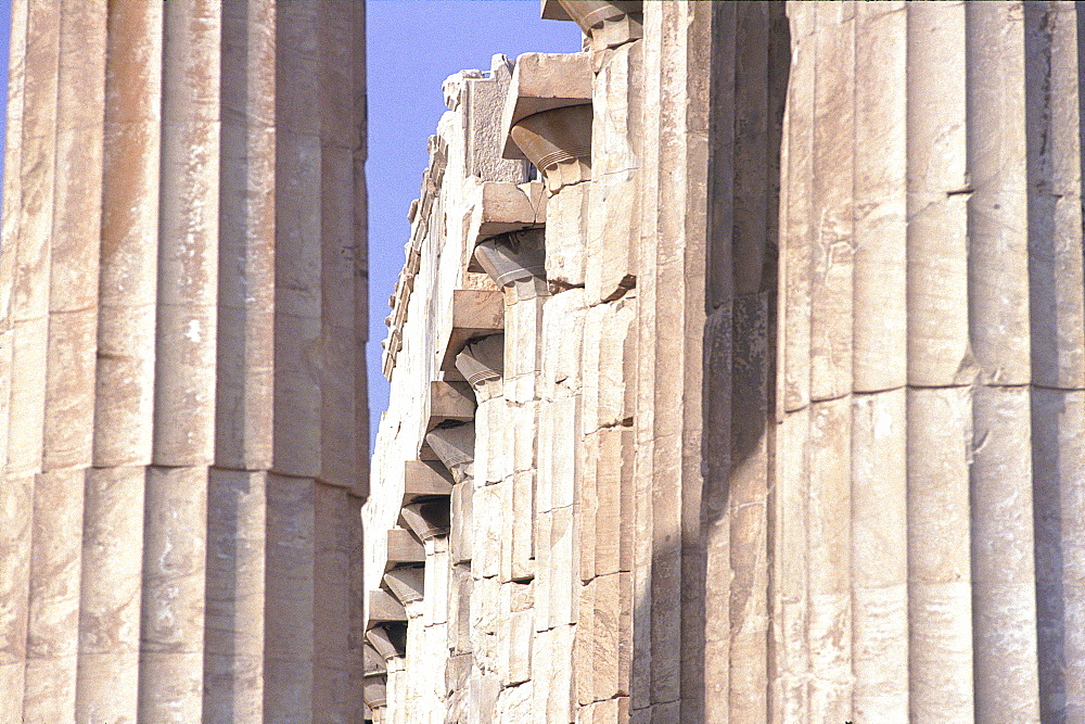 Greece, At Hens, Acropolis, In Side The Parthenon, The Columns (Doric Style)