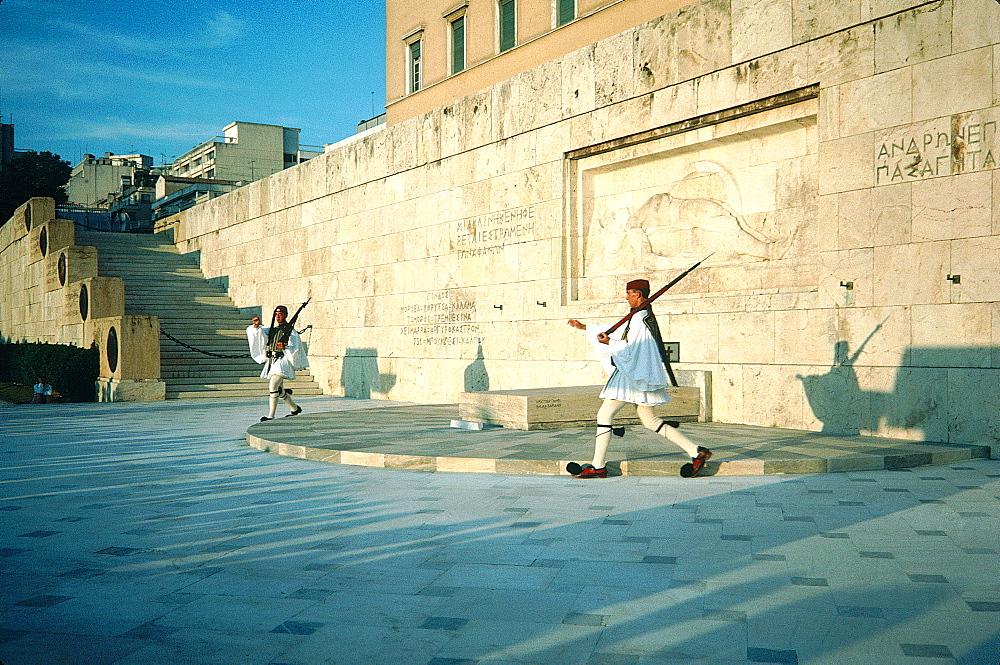 Greece, At Hens , Royal Palace, Guards Walking With Old Guns