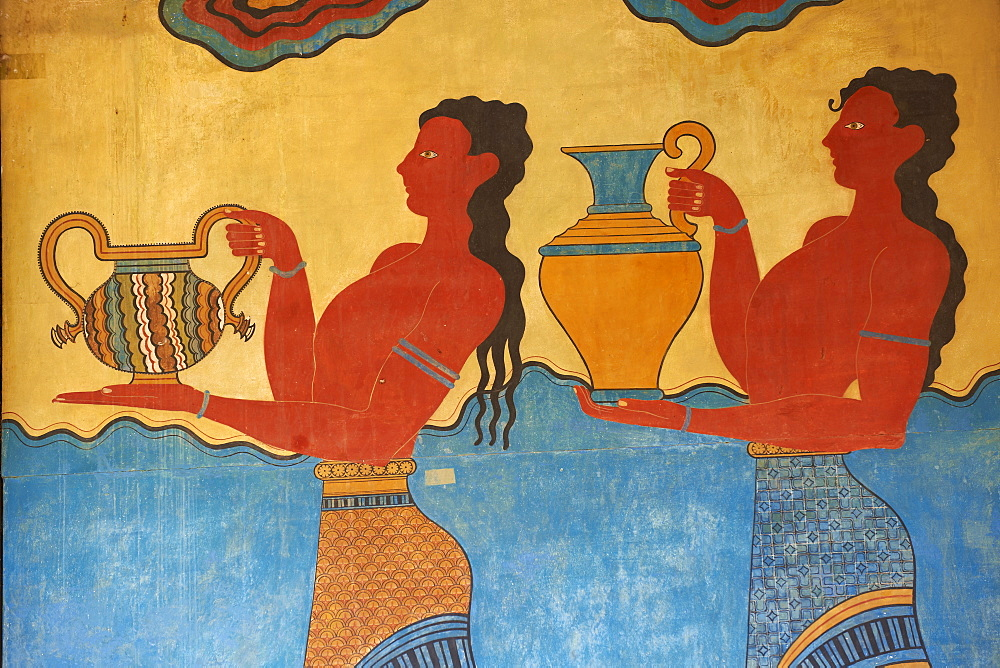 Mural paintings, Corridor of the Procession, Minoan archaeological site of Knossos, Crete, Greek Islands, Greece, Europe