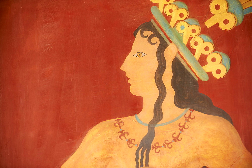 Prince of Lilies fresco, Minoan archaeological site of Knossos, Crete, Greek Islands, Greece, Europe