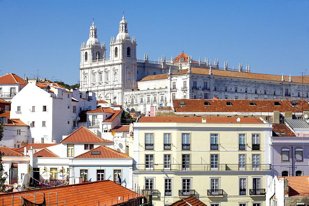 View of San Vincente de Fora church and Alfama neighbourhood, Lisbon, Portugal, Europe