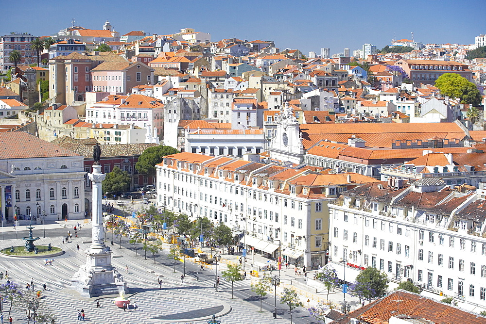 Aerial view of Praca Dom Pedro IV (Rossio Square) and city centre, Lisbon, Portugal, Europe