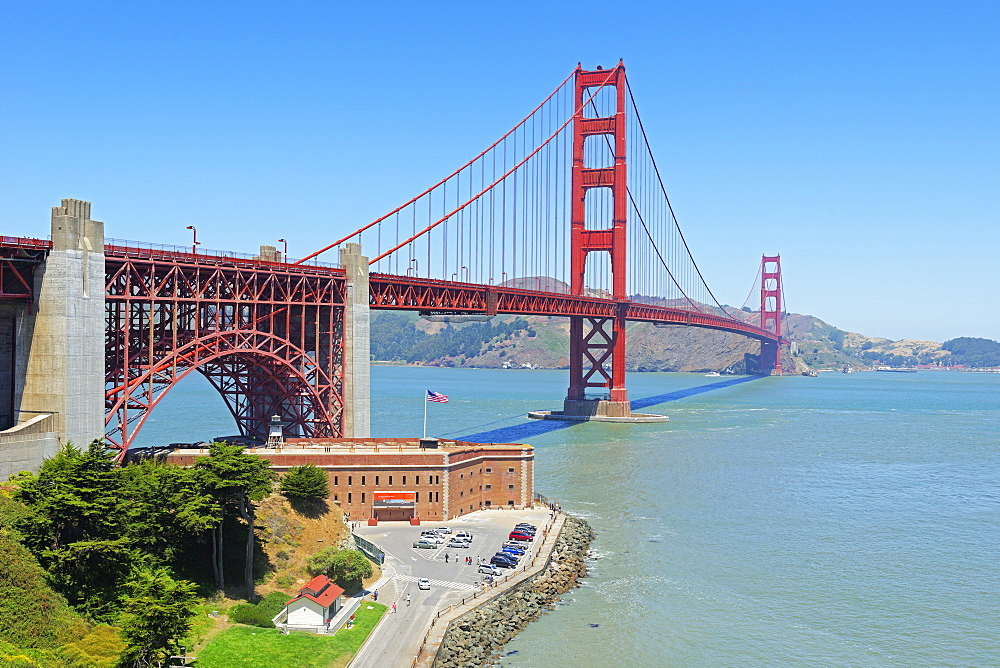 Golden Gate Bridge and Fort Point, San Francisco, California, United States of America, North America