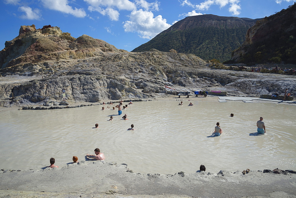 Bathers enjoying the therapeutic benefits of the volcanic mud in the hot spring pool, Vulcano Island, Aeolian Islands, UNESCO World Heritage Site, north of Sicily, Italy, Mediterranean, Europe