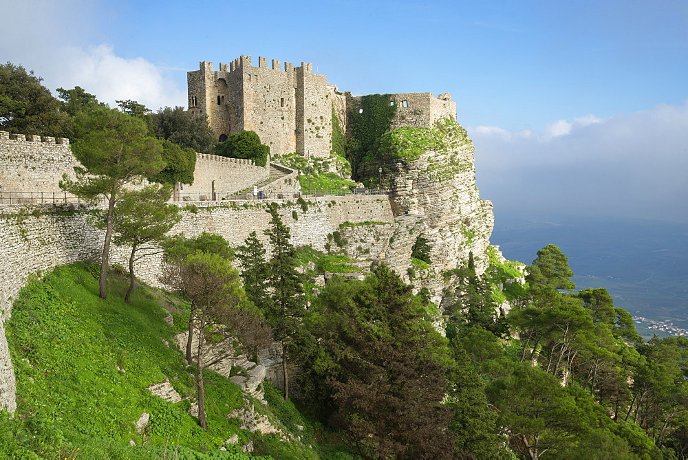 View of Venus Castle situated an the top of the mountain, Erice, Sicily, Italy, Europe