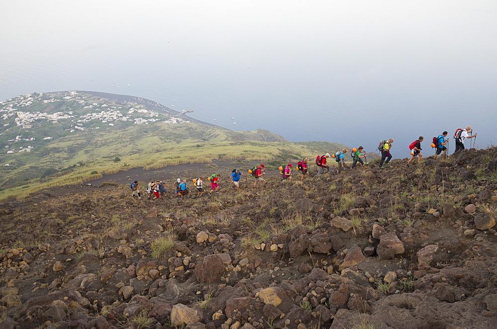 Volcano trekking, Stromboli, Aeolian Islands, UNESCO World Heritage Site, Sicily, Italy, Mediterranean, Europe