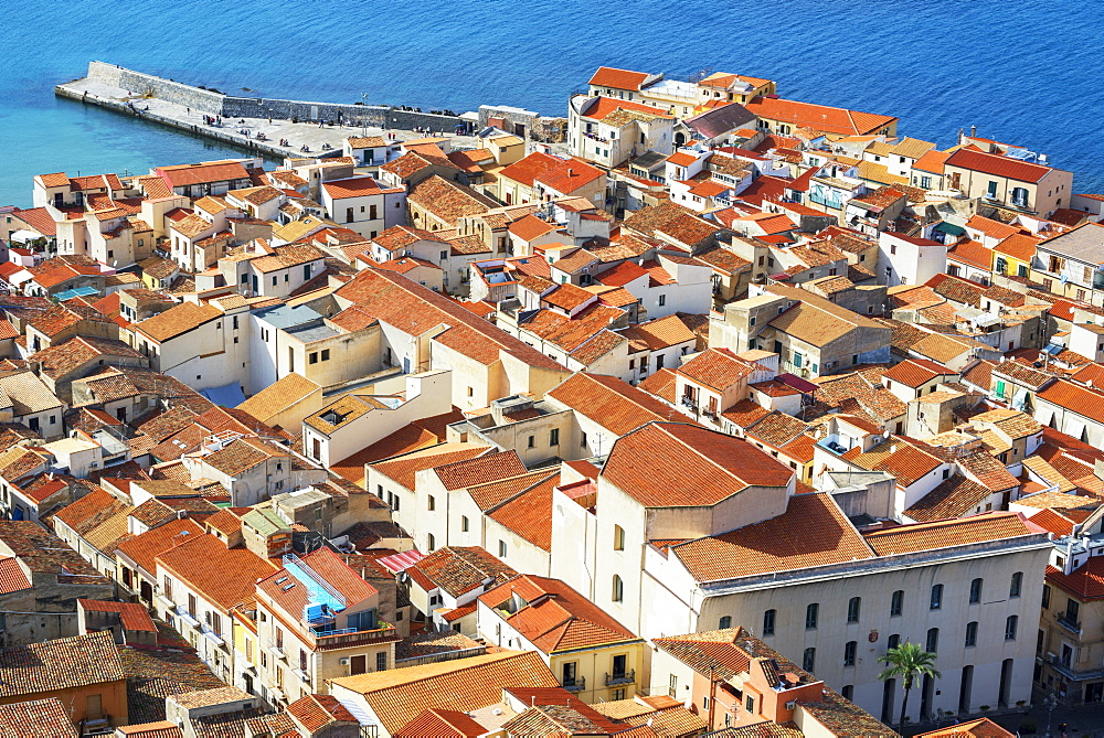 Aerial view of Cefalu from La Rocca, Cefalu, Sicily, Italy, Europe