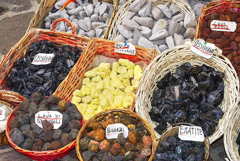 Volcanic rock souvenirs, Lipari Island, Aeolian Islands, UNESCO World Heritage Site, Sicily, Italy, Mediterranean, Europe - 718-2173