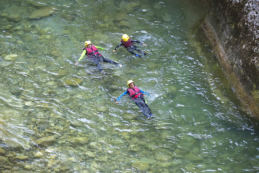 People canyoning in the Gorges du Verdon, Provence-Alpes-Cote d'Azur, Provence, France, Europe - 718-2212