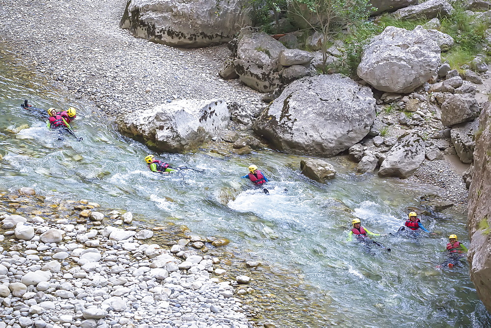 People canyoning in the Gorges du Verdon, Provence-Alpes-Cote d'Azur, Provence, France, Europe