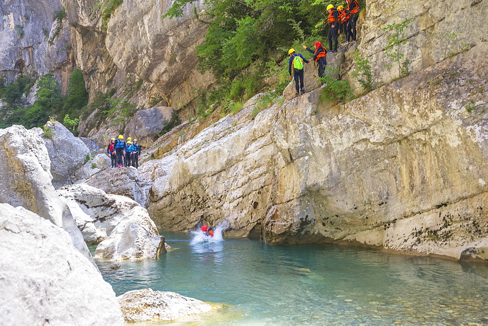 People canyoning in the Gorges du Verdon, Provence-Alpes-Cote d'Azur, Provence, France, Europe - 718-2214