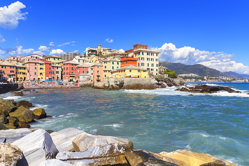 The old fishing village of Boccadasse, Genoa, Liguria, Italy, Europe - 718-2220