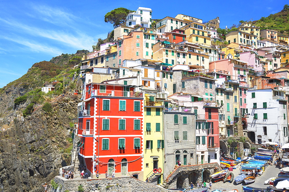 The colorful sea village of Riomaggiore, Cinque Terre, UNESCO World Heritage Site, Liguria, Italy, Europe - 718-2221
