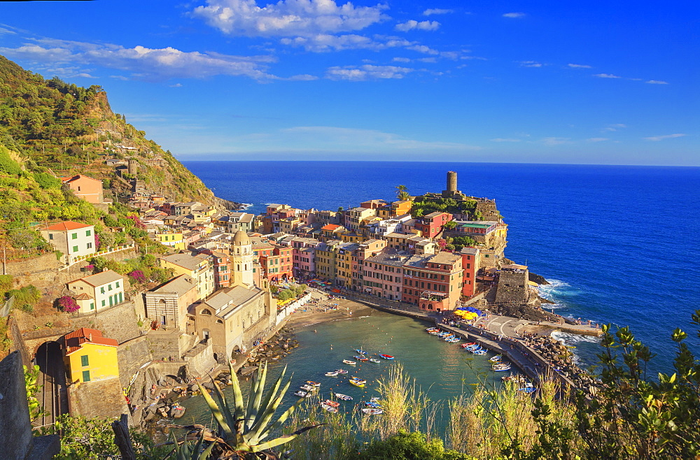 The colorful sea village of Vernazza, Cinque Terre, UNESCO World Heritage Site, Liguria, Italy, Europe - 718-2224