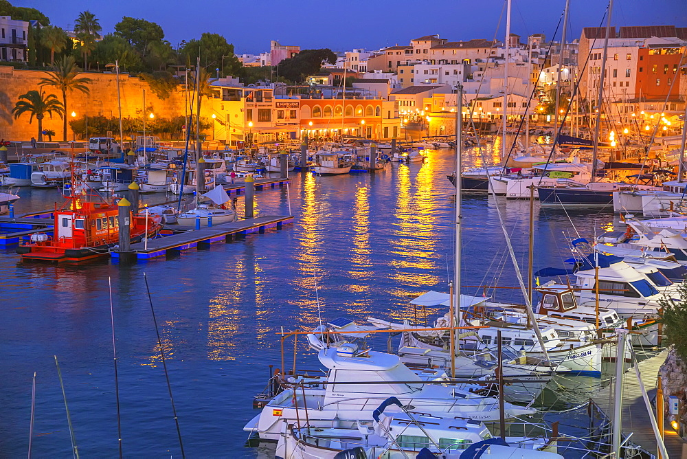 Historic old harbor, Ciutadella, Menorca, Balearic Islands, Spain, Mediterranean, Europe - 718-2234