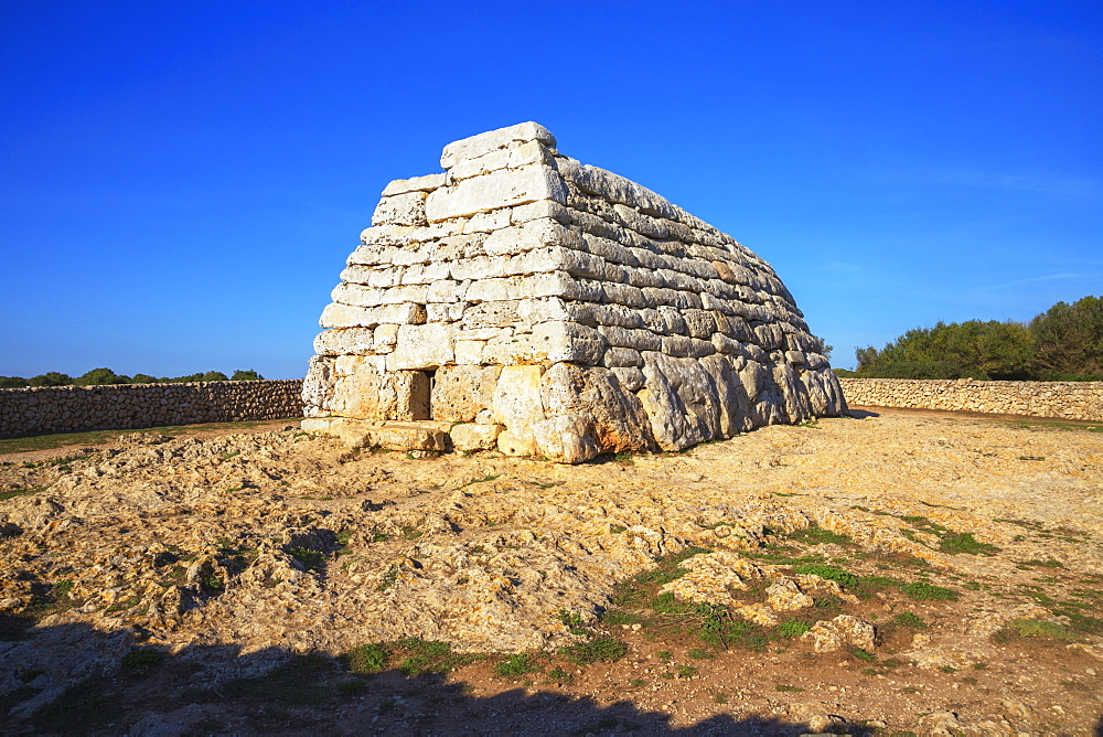 Naveta or megalithic tomb at the site of Es Tudons, Menorca, Balearic Islands, Spain, Mediterranean, Europe - 718-2240