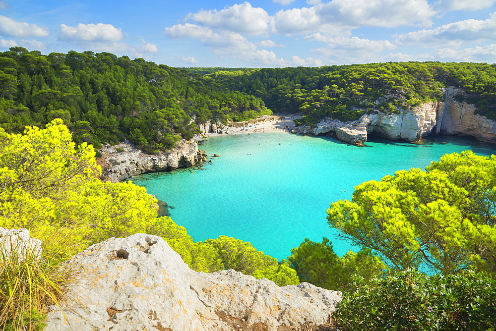 High angle view of Cala Mitjana, Menorca; Balearic Islands; Spain; Europe