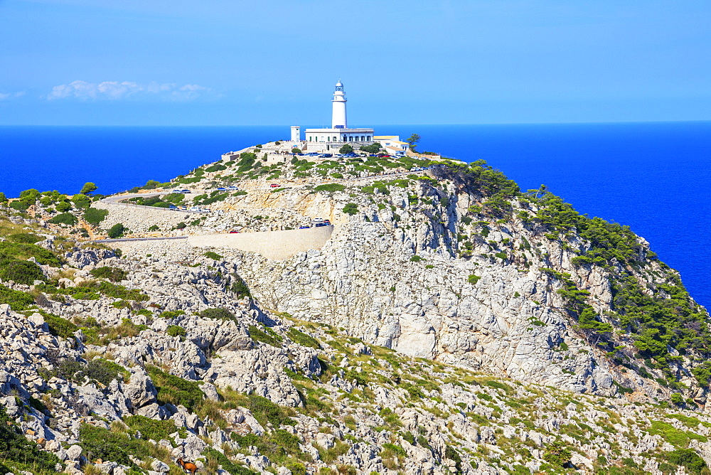 Lighthouse at Cap de Formentor, Mallorca (Majorca), Balearic Islands, Spain, Mediterranean, Europe - 718-2260