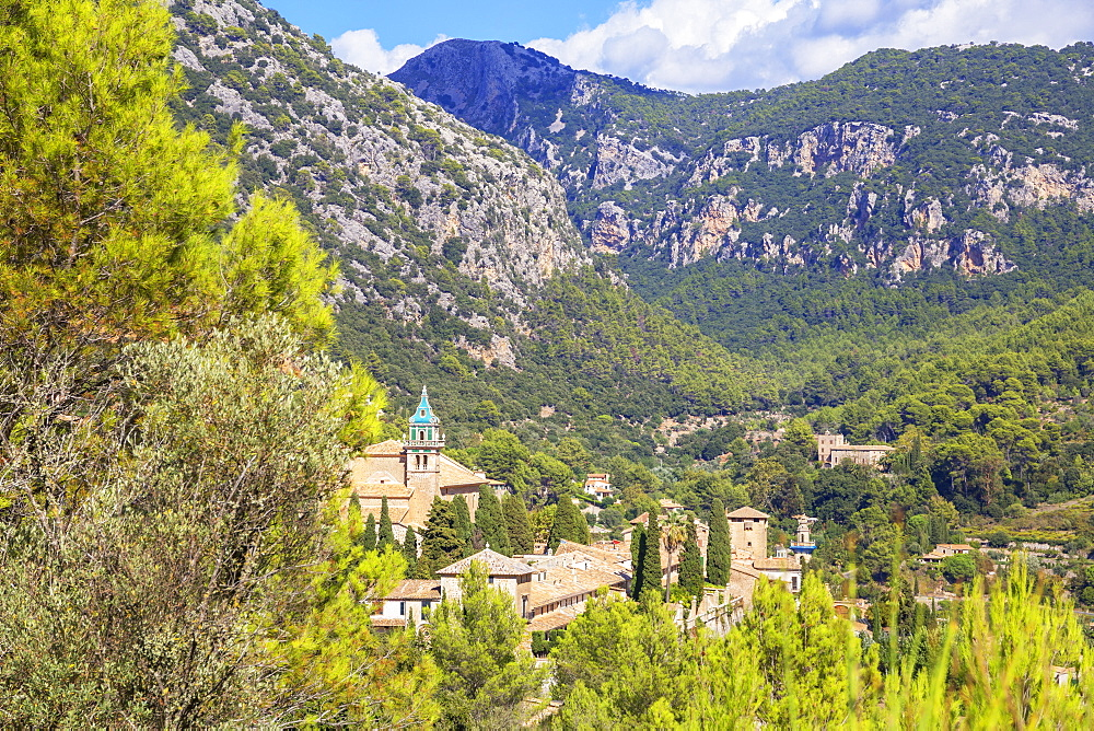 View of Valldemossa village, Valldemossa, Mallorca (Majorca), Balearic Islands, Spain, Europe - 718-2271