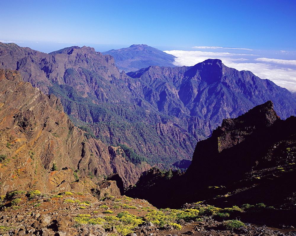 View over Parque Nacional de la Caldera de Taburiente from Roque de los Muchachos, La Palma, Canary Islands, Spain, Europe