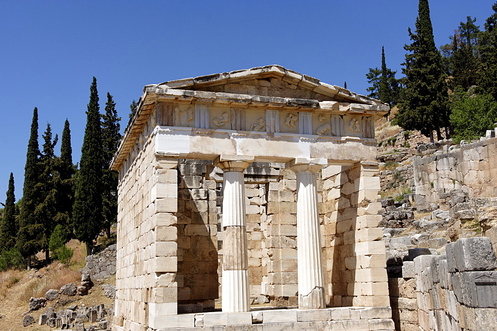 The Treasury of the Athenians. Delphi , UNESCO World Heritage Site, Peloponnese, Greece, Europe