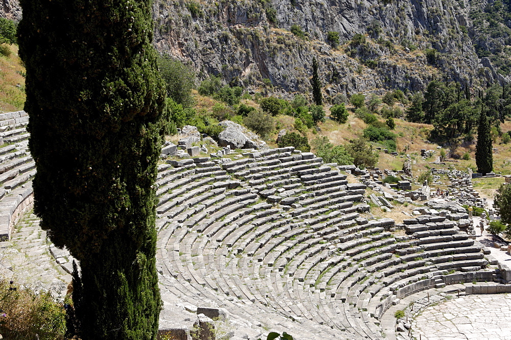 The Ancient Theater, Delphi, UNESCO World Heritage Site, Peloponnese, Greece, Europe
