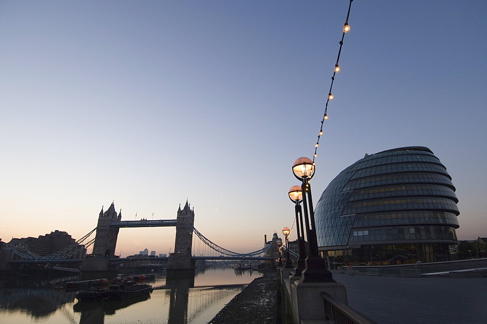 City Hall (London Assembly Building), Tower Bridge and the River Thames from the South Bank, London, England, United Kingdom, Europe