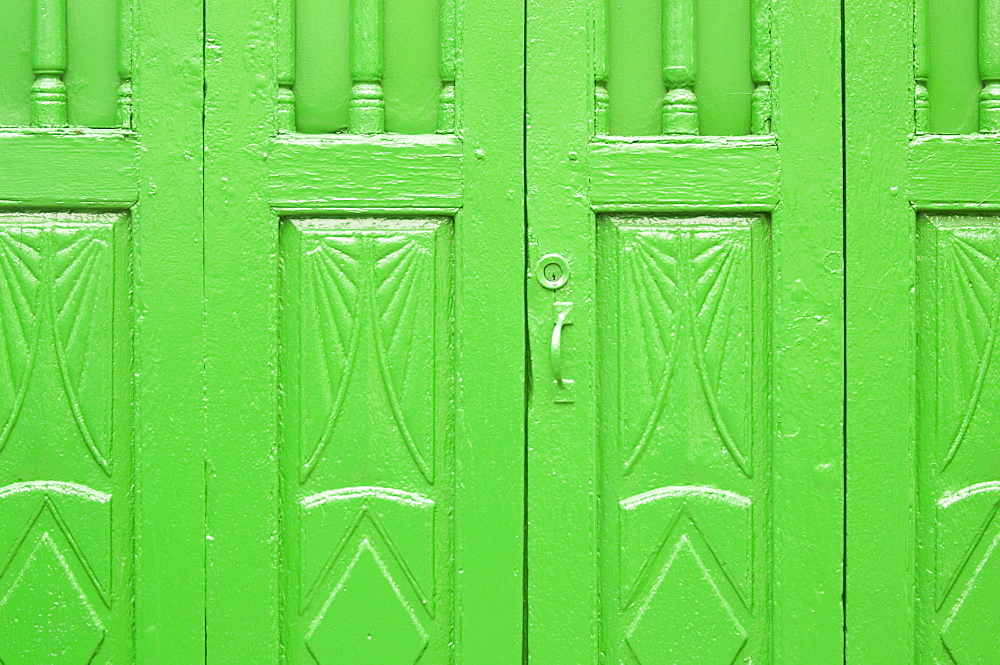 Close-up of a green wooden door, Tenerife, Canary Islands, Spain, Atlantic, Europe - 728-3393