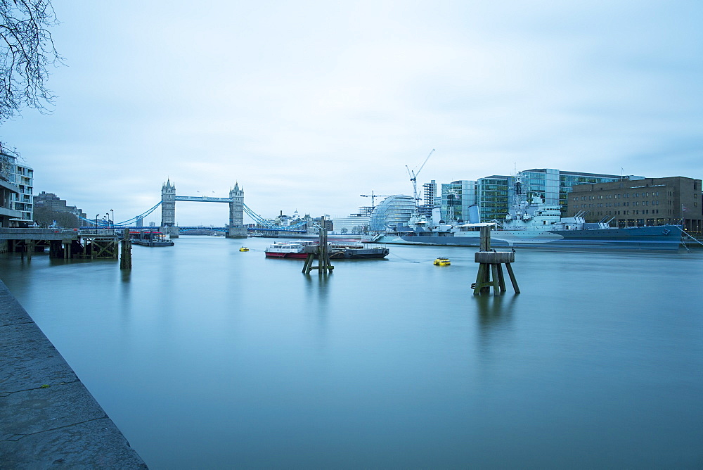 River Thames and HMS Belfast, London, England, United Kingdom, Europe