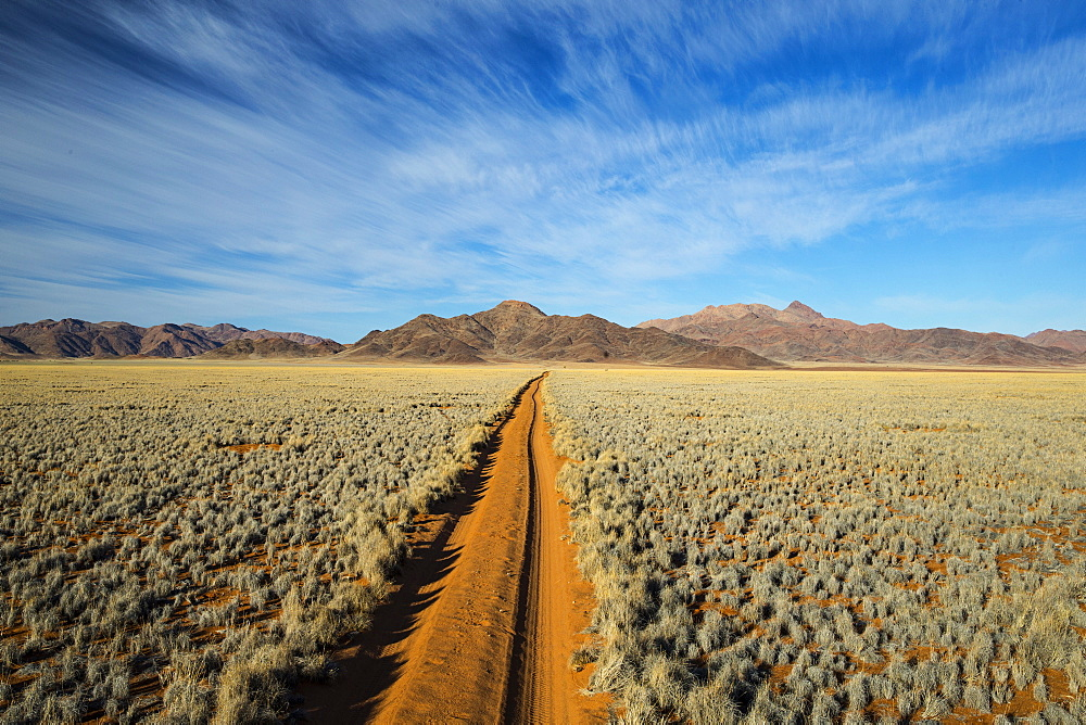 Straight track through the Namib Desert, Namibia, Africa
