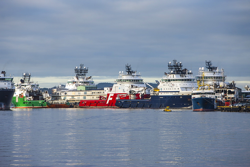Oil industry vessels in dock, Bergen, Norway, Scandinavia, Europe