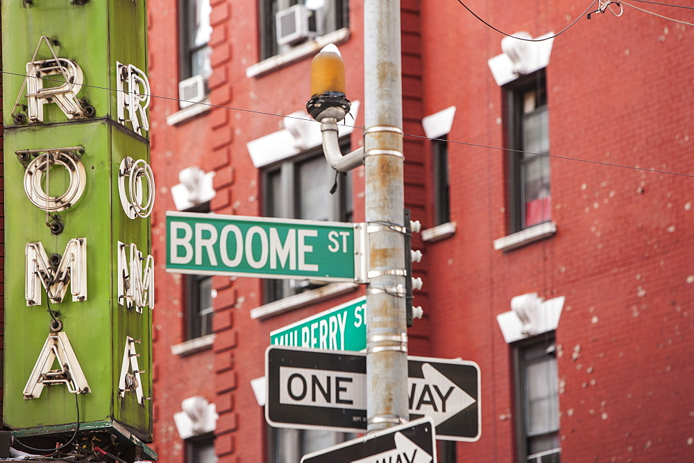 Broome Street in Little Italy, New York, United States of America, North America