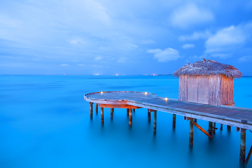 Pier and hut, Maldives, Indian Ocean, Asia