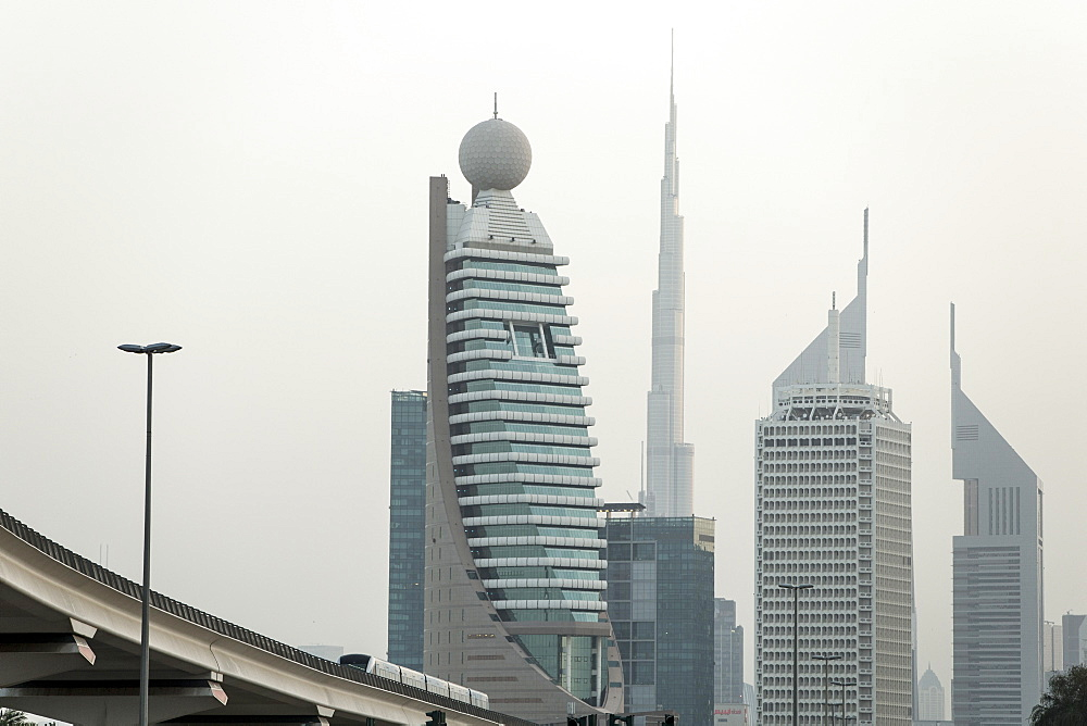 Dubai Metro and skyline, Dubai, United Arab Emirates, Middle East