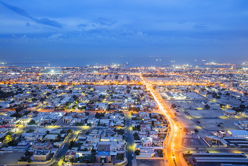 Dubai evening view to sea, Dubai, United Arab Emirates, Middle East
